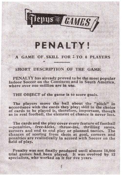 Penalty Football Card Game page 1