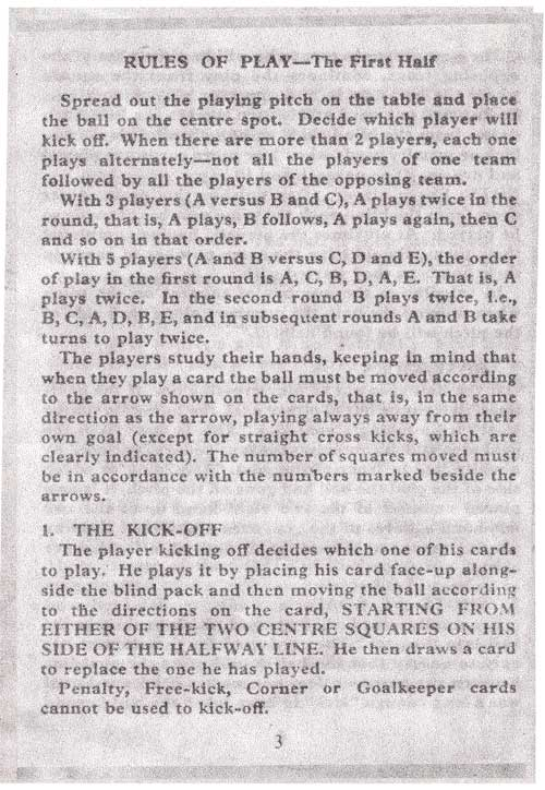 Rules for Penalty Football Card Game page 3