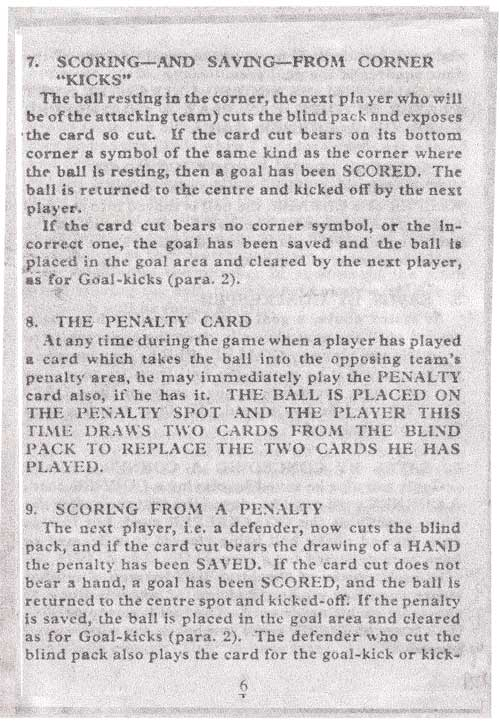 Penalty Football Card Rules
